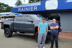 Juan and Trever with Juan's 2018 Silverado for Audio upgrades