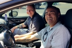 Daniel and Logan in Daniel's 2018 Subaru for BASS